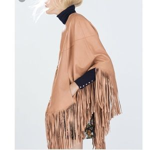 Zara Tan Leather Fringe Cape | Boho | Coachella